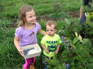 Adelie and Beau picking blueberries